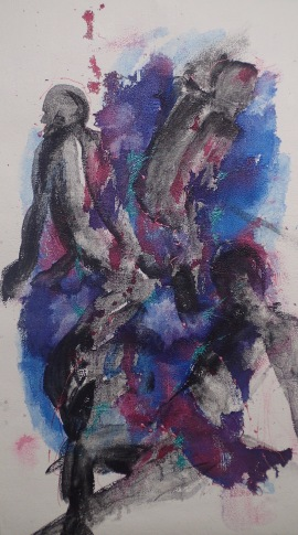 Figures and blue 51cms x 89cms 100 euros